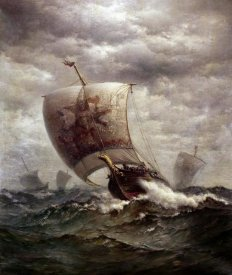 James Gale Tyler - Viking Ships at Sea