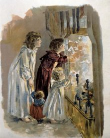 Unknown - Three Children By Fireplace