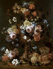 Nicolas van Veerendael - Roses, Carnations & Other Flower In An Urn