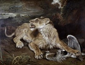 James Ward - A Lioness & a Heron