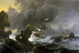Ludolf Backhuysen - Dutch Merchantmen Driven onto a Rocky Coast in a Storm