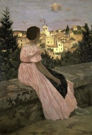 Frederic Bazille - The Pink Dress (View of Castelnau-le-Lez, Herault)
