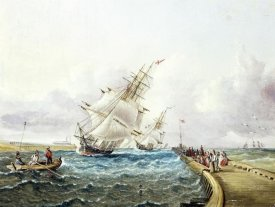 James E. Buttersworth - Square Rigged Ships off Jetty