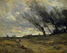 Jean-Baptiste-Camille Corot - A Gust of Wind
