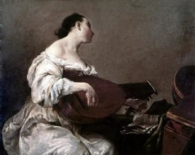Giuseppe Maria Crespi - Woman Playing a Lute