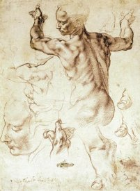 Michelangelo - Anatomy Sketches (Libyan Sibyl)