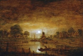Aert Van der Neer - Title Unknown (Boats at Sunset with Windmill)