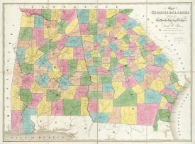 David H. Burr - Map of Georgia & Alabama, 1839