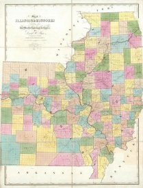 David H. Burr - Map of Illinois & Missouri, 1839