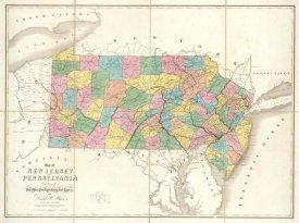 David H. Burr - Map of New Jersey and Pennsylvania, 1839