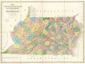 David H. Burr - Map of Virginia, Maryland and Delaware, 1839