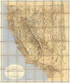 California Geological Survey - Map of California and Nevada, 1874