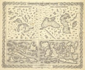 G.W. Colton - Comparative Size of Lakes and Islands, 1856