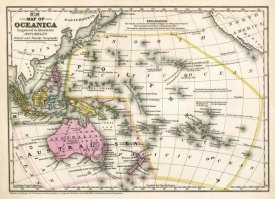 Samuel Augustus Mitchell - Map of Oceanica, 1839