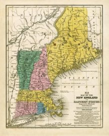 Samuel Augustus Mitchell - Map of the New England or Eastern States, 1839