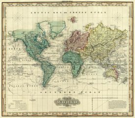 Maps art prints global gallery world on mercators projection 1823 sciox Images