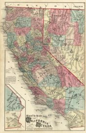 Thos. H. Thompson - Map of the States of California and Nevada, 1877