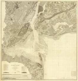 United States Coast Survey - Map of New York Bay and Harbor and The Environs, 1844