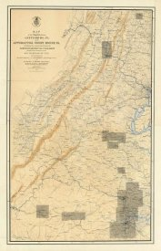 United States War Department - Civil War Map of the Region between Gettysburg, PA and Appomattox Court House, VA, 1869
