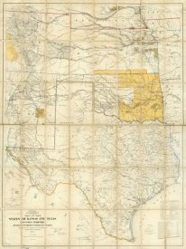 United States War Department - Map of The States of Kansas and Texas and Indian Territory, 1867