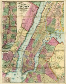 Gaylord Watson - Map of New York and Adjacent Cities, 1874
