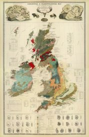 Alexander Keith Johnston - Composite: Geological, palaeontological map British Islands, 1854