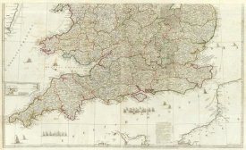 John Rocque - England and Wales (Southern section), 1790