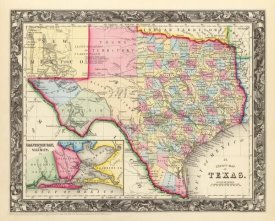 Samuel Augustus Mitchell - County Map Of Texas, 1860