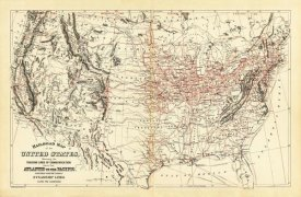 Samuel Augustus Mitchell - Railroad map of the United States, 1890