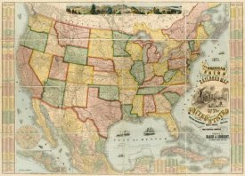 Haasis and Lubrecht - American Union Railroad Map Of The United States, 1871