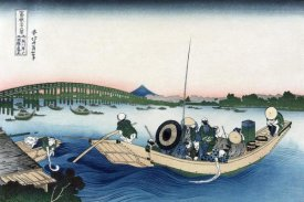 Hokusai - Sunset across Ryogoku Bridge from the Bank of the Sumida River at Onmayyagashi, 1830
