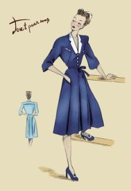 Unknown - Blue Daytime Dress with Collar and Belt, 1947