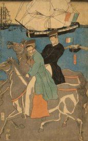 Sadahide Utagawa - French men taking horse ride on Sunday in Yokohama (Yokohama kyujitsu Furansujin uma yuko), 1861