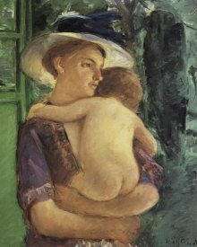 Mary Cassatt - Mother In Hat Holding Her Nude Baby Seen In Back View 1909