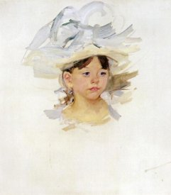 Mary Cassatt - Sketch Of Mary Ellen In A Big Blue Hat