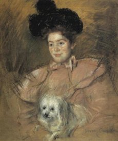 Mary Cassatt - Woman In Raspberry Costume Holding A Dog 1901