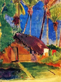 Paul Gauguin - Thatched Hut Under Palm Trees