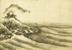 Hokusai - A Landscape With A Seaside Village 1840
