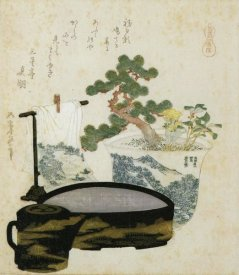 Hokusai - A Potted Dwarf Pine With Basin And Towel 1822
