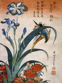 Hokusai - Kingfisher With Irises And Wild Pinks