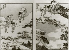 Hokusai - Pilgrims On A Snow Covered Bridge