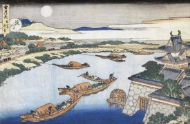 Hokusai - The Moon Above Yodo River And Osaka Castle