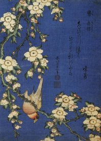 Katsushika Hokusai - Weeping Cherry and a Bullfinch, ca. 1834