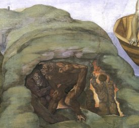 Michelangelo - Detail From The Last Judgement (Hell's Mouth)