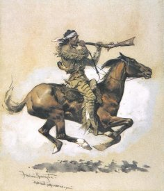 Frederic Remington - Buffalo Hunter Spitting A Bullet Into A Gun