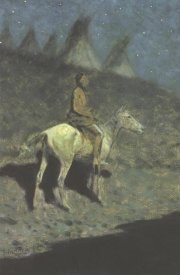 Frederic Remington - Indian In The Moonlight