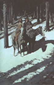 Frederic Remington - Indian Scouts In The Moonlight