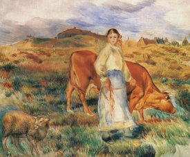 Pierre-Auguste Renoir - Shepherdess With Cow And Ewe