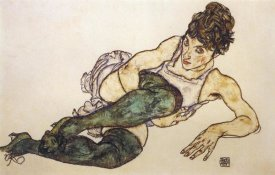 Egon Schiele - Reclining Woman With Green Stockings
