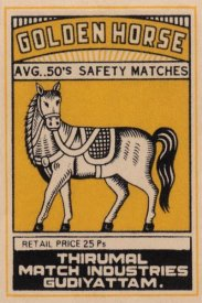 Phillumenart - Golden Horse Avg. 50's Safety Matches